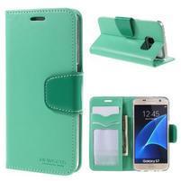 Rich PU kožené peňaženkové puzdro pre Samsung Galaxy S7 - azurové