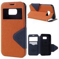 Diary puzdro s okienkom pre Samsung Galaxy S7 - oranžové