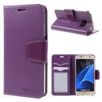 Rich PU kožené peňaženkové puzdro pre Samsung Galaxy S7 - fialové