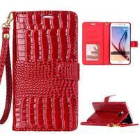Croco styl peňaženkové puzdro pre Samsung Galaxy S7 - červené