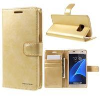 Moon PU kožené puzdro pre mobil Samsung Galaxy S7 - zlaté