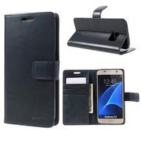 Moon PU kožené puzdro pre mobil Samsung Galaxy S7 - tmavomodré