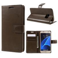 Moon PU kožené puzdro pre mobil Samsung Galaxy S7 - coffee