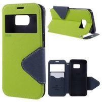 Diary puzdro s okienkom pre Samsung Galaxy S7 - zelené