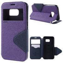 Diary puzdro s okienkom pre Samsung Galaxy S7 - fialové