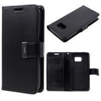 Luxury PU kožené puzdro pre Samsung Galaxy S7 - čierne