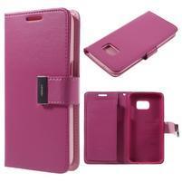 Luxury PU kožené puzdro pre Samsung Galaxy S7 - rose