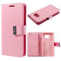 Luxury PU kožené puzdro pre Samsung Galaxy S7 - ružové