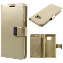 Luxury PU kožené puzdro pre Samsung Galaxy S7 - zlaté