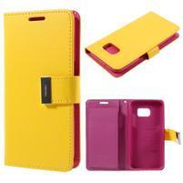 Luxury PU kožené puzdro pre Samsung Galaxy S7 - žlté