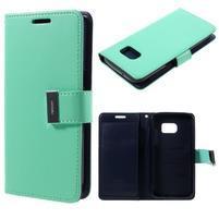 Luxury PU kožené puzdro pre Samsung Galaxy S7 - azurové