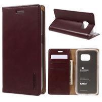 Bluemoon PU kožené puzdro pre mobil Samsung Galaxy S7 - tmavočervené