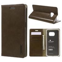 Bluemoon PU kožené puzdro pre mobil Samsung Galaxy S7 - hnedé