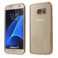 Gelový obal se zlatým rámom pre Samsung Galaxy S7