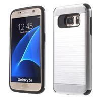 Dvojdielny odolný kryt pre Samsung Galaxy S7 - strieborny