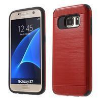 Dvoudielný odolný kryt pre Samsung Galaxy S7 - červený