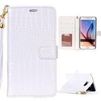 Croco styl peňaženkové puzdro pre Samsung Galaxy S7 - biele