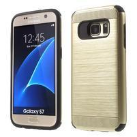 Dvoudielný odolný kryt pre Samsung Galaxy S7 - zlatý