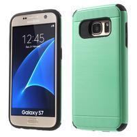 Dvoudielný odolný kryt pre Samsung Galaxy S7 - cyan