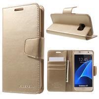 Sonata PU kožené pouzdro na Samsung Galaxy S7 - zlaté