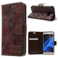 Kvetinové peňaženkové puzdro pre Samsung Galaxy S7 - hnedočervené
