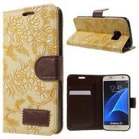 Kvetinové peňaženkové puzdro pre Samsung Galaxy S7 - žlté