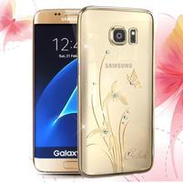 Swarowski plastový obal s kamínky na Samsung Galaxy S7 - orchidej