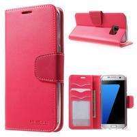 Rich PU kožené puzdro pre Samsung Galaxy S7 edge - rose