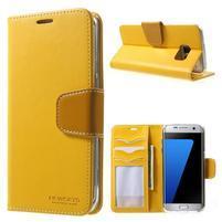 Rich PU kožené pouzdro na Samsung Galaxy S7 edge - žluté