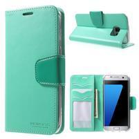 Rich PU kožené puzdro pre Samsung Galaxy S7 edge - azúrové