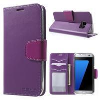 Rich PU kožené puzdro pre Samsung Galaxy S7 edge - fialové