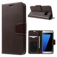 Rich PU kožené puzdro pre Samsung Galaxy S7 edge - hnedé
