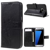 Butterfly PU kožené puzdro pre Samsung Galaxy S7 edge - čierne