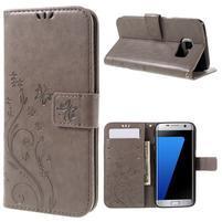 Butterfly PU kožené puzdro pre Samsung Galaxy S7 edge - šedé