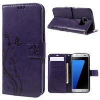 Butterfly PU kožené puzdro pre Samsung Galaxy S7 edge - fialové