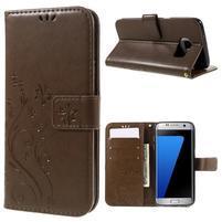 Butterfly PU kožené puzdro pre Samsung Galaxy S7 edge - fcoffee