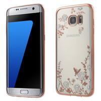 Nice gelový obal s kamínky na Samsung Galaxy S7 edge - bílé květiny