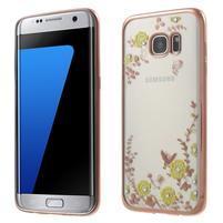 Nice gélový obal s kamienkami pre Samsung Galaxy S7 edge - žlté kvety