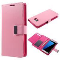 Luxusný PU kožené puzdro pre Samsung Galaxy S7 Edge - ružové