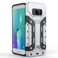 Defender odolný obal so stojanom pre Samsung Galaxy S7 Edge - strieborny