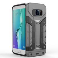 Defender odolný obal so stojanom pre Samsung Galaxy S7 Edge - šedý