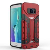 Defender odolný obal so stojanom pre Samsung Galaxy S7 Edge - červený