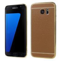 Luxy gélový obal s PU koženými zády pre Samsung Galaxy S7 Edge - hnedý