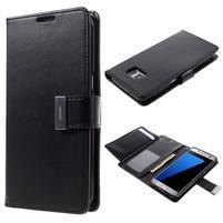 Luxusný PU kožené puzdro pre Samsung Galaxy S7 Edge - čierne