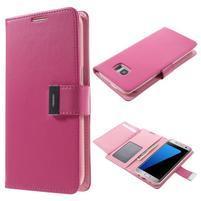 Luxusný PU kožené puzdro pre Samsung Galaxy S7 Edge - rose