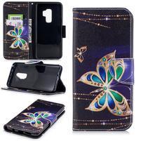 Emotive PU kožené zapínacie puzdro na Samsung Galaxy S9+ - kúzelný motýľ