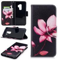 Emotive PU kožené zapínacie puzdro na Samsung Galaxy S9+ - kvetina