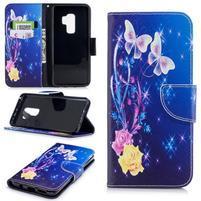 Emotive PU kožené zapínacie puzdro na Samsung Galaxy S9+ - farebné motýle
