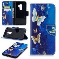 Emotive PU kožené zapínacie puzdro na Samsung Galaxy S9+ - modré motýliky