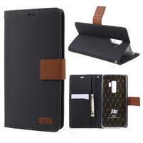 Grain knihové puzdro s magnetickým zapínaním na Samsung Galaxy S9 Plus - čierne